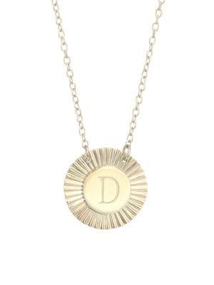 Jennifer Zeuner Jewelry Women's Iris Rudy 14k Gold Vermeil Engraved Initial Pendant Necklace In Initial D
