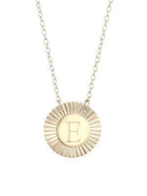 Jennifer Zeuner Jewelry Women's Iris Rudy 14k Gold Vermeil Engraved Initial Pendant Necklace In Initial E