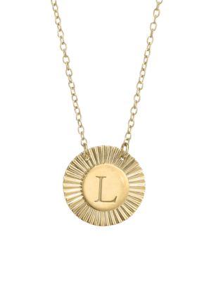 Jennifer Zeuner Jewelry Women's Iris Rudy 14k Gold Vermeil Engraved Initial Pendant Necklace In Initial L