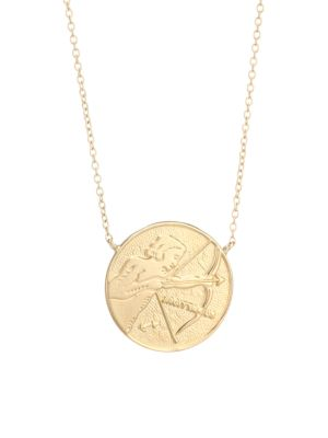 Jennifer Zeuner Jewelry Women's Sylas 14k Gold Vermeil Sagittarius Medallion Necklace In Yellow Goldtone