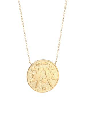 Jennifer Zeuner Jewelry Women's Sylas 14k Gold Vermeil Gemini Medallion Necklace In Yellow Goldtone