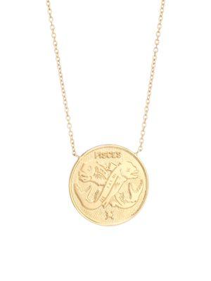 Jennifer Zeuner Jewelry Women's Sylas 14k Gold Vermeil Pisces Medallion Necklace In Yellow Goldtone