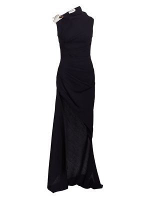 Monse Tops Sleeveless Wrapped Wool High-Low Gown