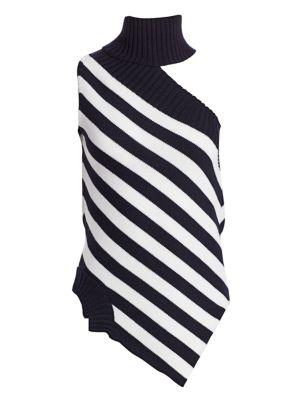 Monse Tops One-Shoulder Striped Wool Turtleneck Top