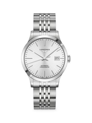 Longines Men's Record 38mm Stainless Steel Automatic Bracelet Watch In White