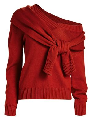 Monse Knits Tied Cold-Shoulder Knit Wool Sweater