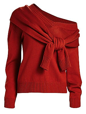Tied Cold Shoulder Knit Wool Sweater by Monse