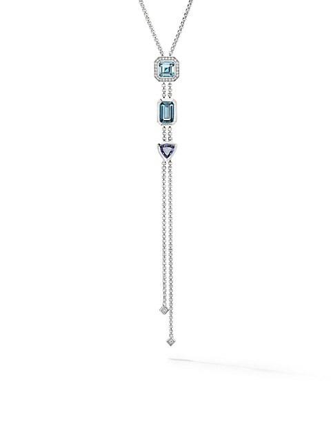 Novella Sterling Silver, Diamond & Multi-Stone Lariat Necklace