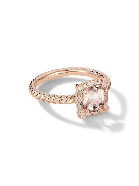 Petite Châtelaine® Pavé Bezel Ring in 18K Rose Gold with Morganite
