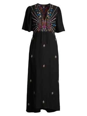 Johnny Was Dresses Janelle Flutter-Sleeve Silk Midi Dress