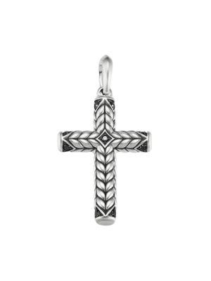David Yurman Men's Chevron Pavé Black Diamond & Sterling Silver Sculpted Cross Pendant