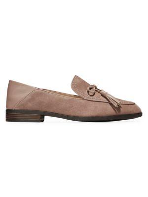 Pinch Tassel Suede Loafers