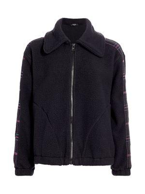 Terez Jackets Plaid-Detailed Fleece Jacket