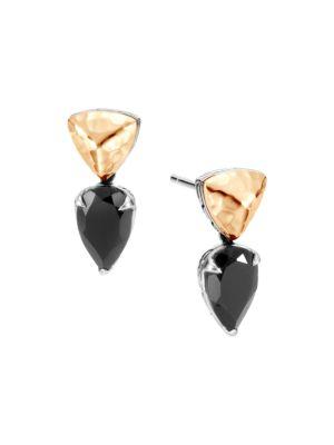 John Hardy Women's Chain Hammered 18k Yellow Gold, Sterling Silver & Black Spinel Drop Earrings