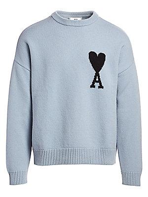 AMI Paris Oversized Logo Intarsia Wool Sweater
