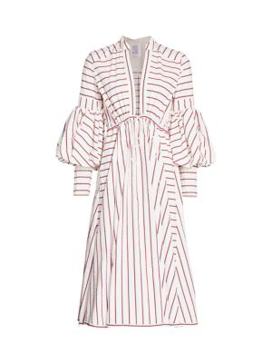 Rosie Assoulin Dresses Lantern-Sleeve Striped Drawstring Poplin Dress