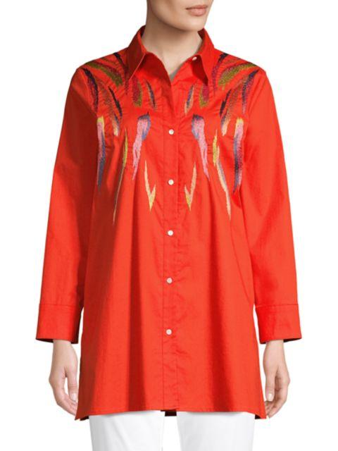 Natori Embroidered Stretch Cotton Tunic Shirt   SaksFifthAvenue