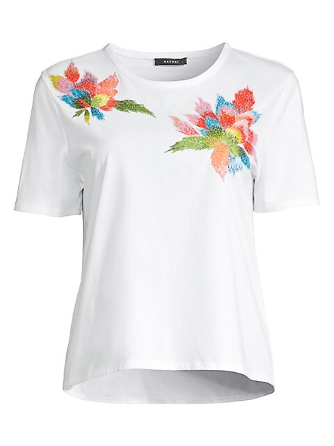 Floral Embroidery Supima Cotton T-Shirt