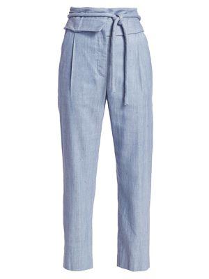 Rosie Assoulin Pants Obi Tied Straight-Leg Silk Pants