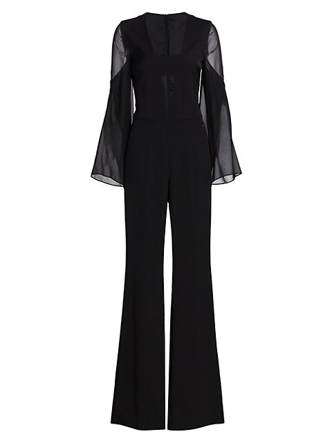 Deep V-Neck Silk Crepe Jumpsuit