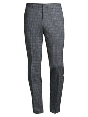 Hugo Men's Wool-blend Checkered Trousers In Grey