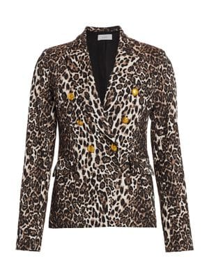 A.l.c Blazers Alton Leopard Print Double-Breasted Blazer