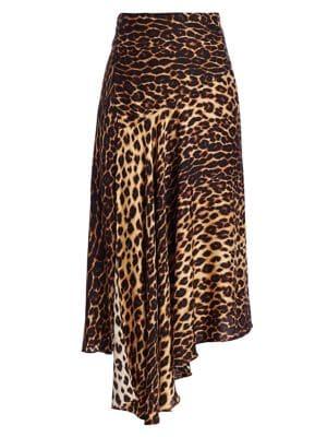 A.l.c Skirts Lev Leopard Print Asymmetrical Midi Skirt
