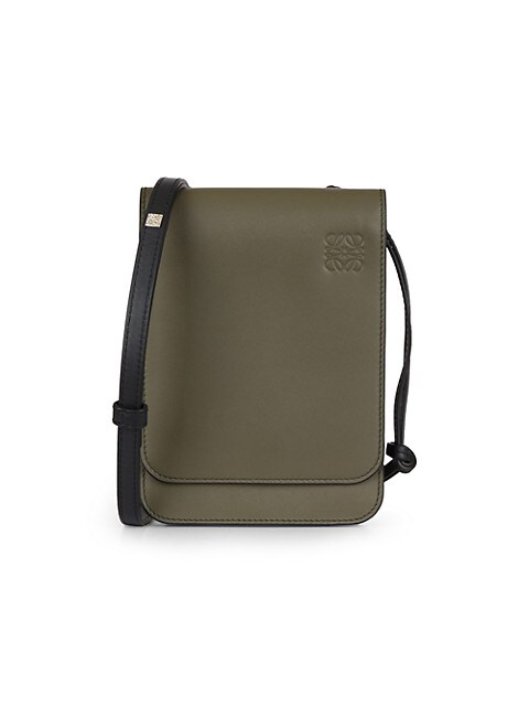 Gusset Flat Leather Crossbody Bag