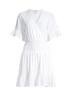 Michael Michael Kors Mini dresses Eyelet Smocked Mini Dress