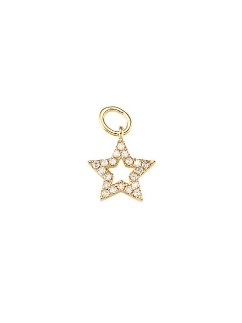 14K Yellow Gold & Diamond Open Star Single Earring Charm