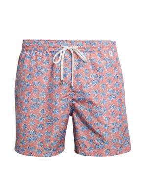 ZWEN Mens Tropical Floral Summer Lotus Printed Quick Dry Summer Beach Swim Trunk Adjustable