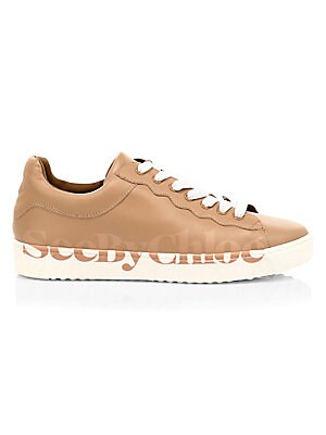 Essie Logo Leather Sneakers Saks