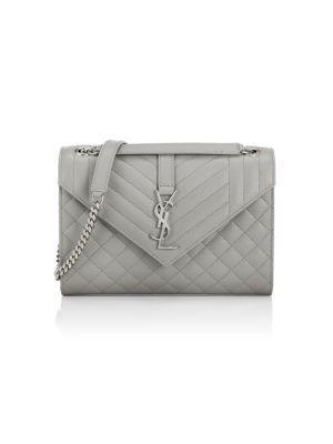 Saint Laurent Women's Medium Envelope Monogram Matelassé Leather Shoulder Bag In Pale Rose