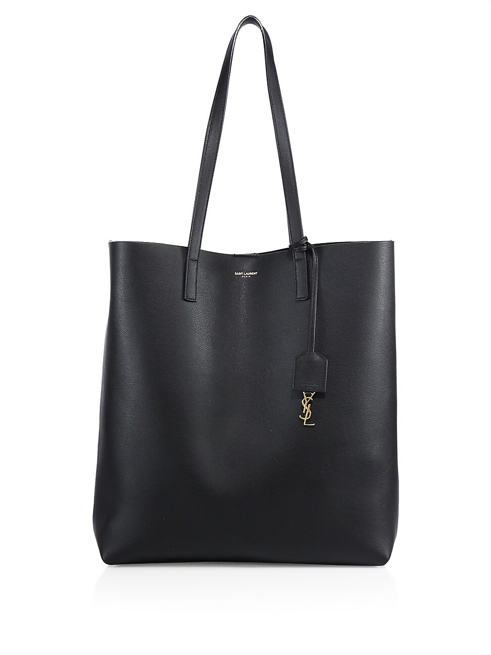 Saint Laurent Leather Shopper Tote Bag In Nero
