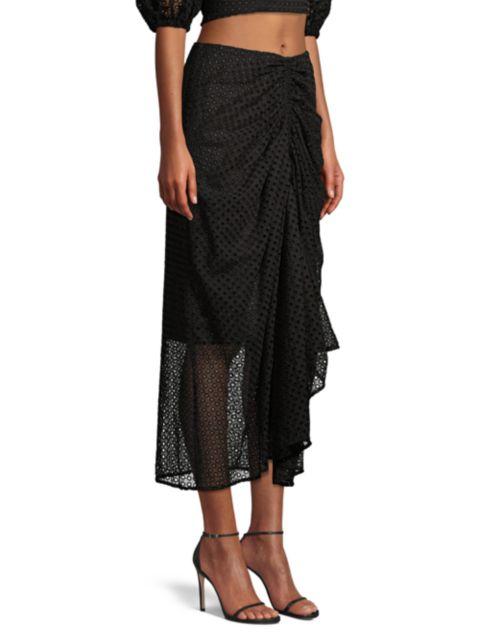 Significant Other Malia Draped Eyelet Midi Skirt   SaksFifthAvenue