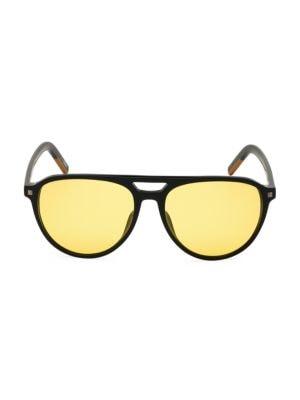 Zegna Men's 57mm Polarized Round Aviator Sunglasses In Black