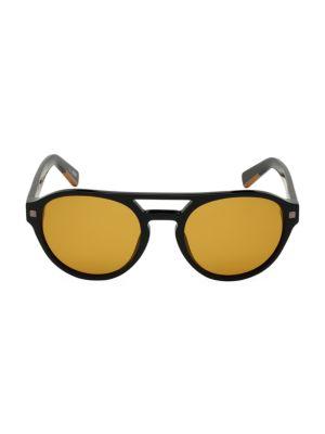 Zegna Men's 56mm Polarized Round Aviator Sunglasses In Black