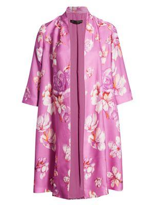 Marina Rinaldi, Plus Size Tiara Floral Silk Overcoat