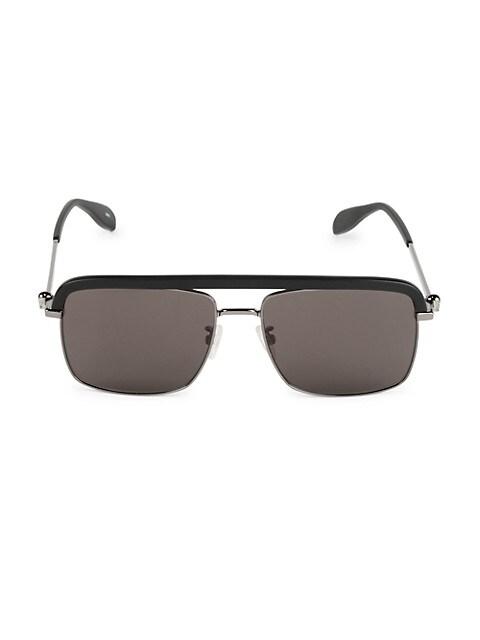 59MM Navigator Metal Sunglasses