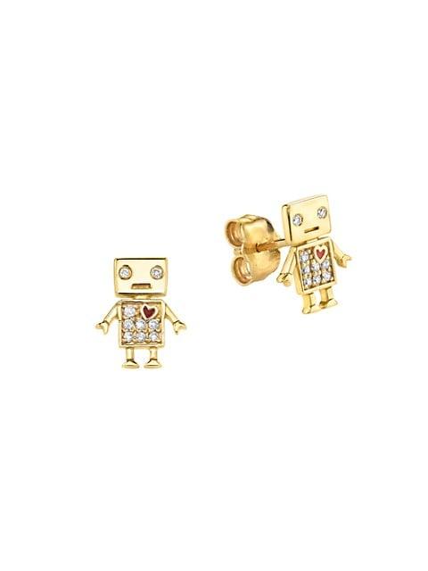 14K Yellow Gold & Diamond Robot Stud Earrings