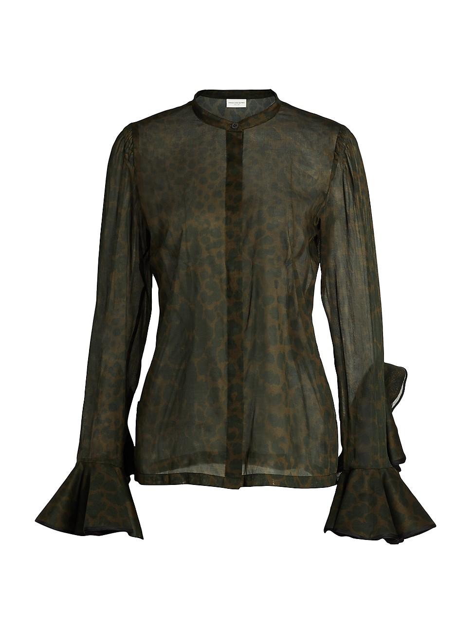Dries Van Noten Women's Sheer Ruffle-sleeve Leopard-print Blouse In Khaki