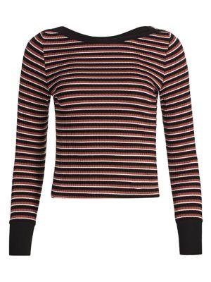 Variegated Stripe Long Sleeve Tee by Frame