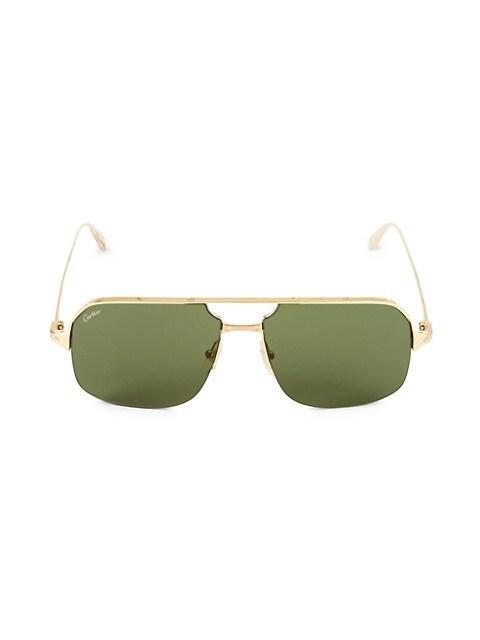 59MM Goldtone Aviator Sunglasses