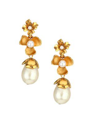 Oscar de la Renta Signed Blue Crystal Heart Drop Earrings