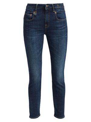 R13 Jeans Mid-Rise Boyfriend Skinny Jeans