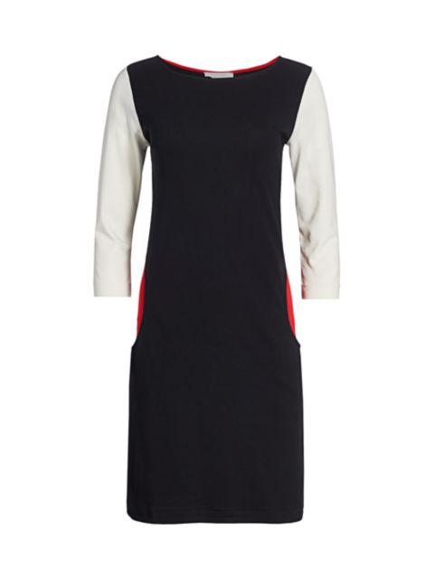 Joan Vass Colorblock Three-Quarter Sleeve Sheath Dress | SaksFifthAvenue