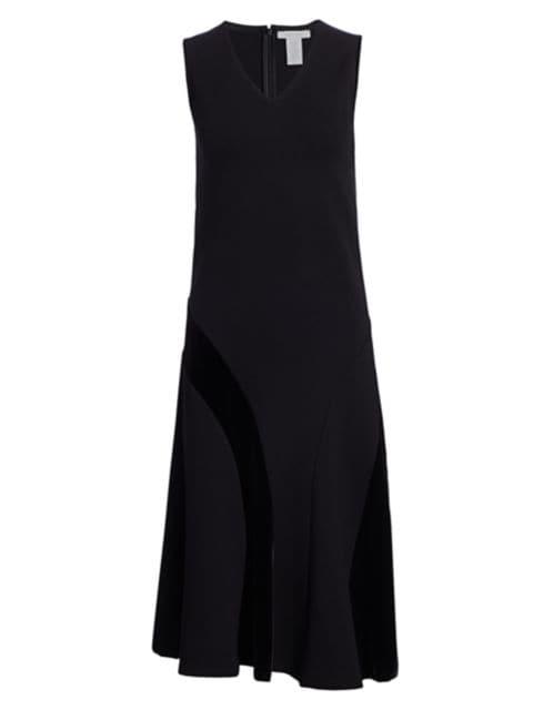 Joan Vass Sleeveless Velvet Blocked Flare Dress | SaksFifthAvenue
