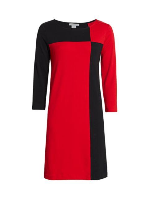 Joan Vass Colorblock Three-Quarter Sleeve Dress | SaksFifthAvenue