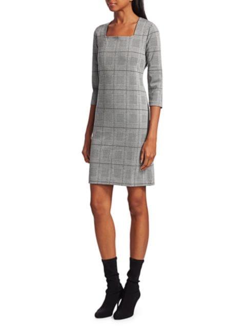 Joan Vass Petite Plaid & Houndstooth Sheath Dress   SaksFifthAvenue
