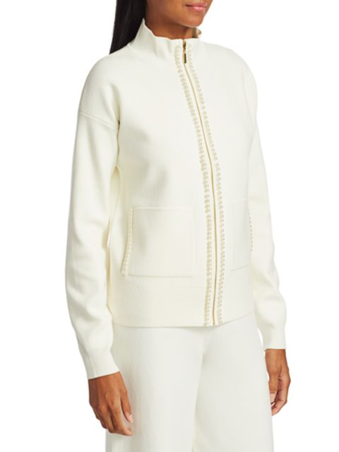 Joan Vass Petite Imitation Pearl-Trim Jacket   SaksFifthAvenue